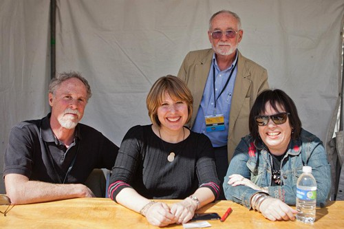 Science nonfiction authors Douglas Starr, left, Holly Tucker, and Deborah Blum, a Pulitzer-Prize winning science reporter, spoke at the Tucson Festival of Books. James Cornell, the president of the International Science Writers Association, moderated their panel.