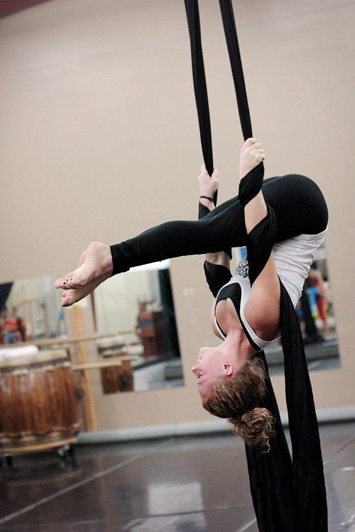 Sierra Wentworth, 20, practices aerial silks at Tucson Circus Arts. Wentworth is minoring in dance at the University of Arizona and this is her first silks class.