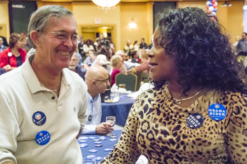 Dan Heirshberg and Rosie Joe-Heirshberg share a laugh as numbers start to come in.